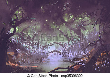 Fantasy clipart enchanted tree Landscape Stock enchanted enchanted forest