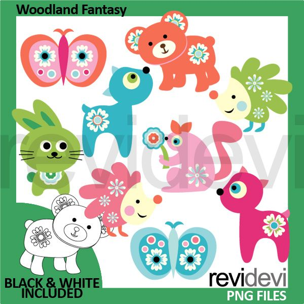 Fantasy clipart enchanted tree Butterflies in Cliparts Woodland colors