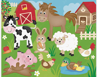 Farm Animals clipart Etsy Farm animal Art Animals