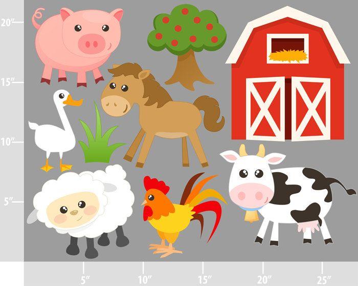 Cattle clipart barnyard animal Commercial Digital Pinterest and barn