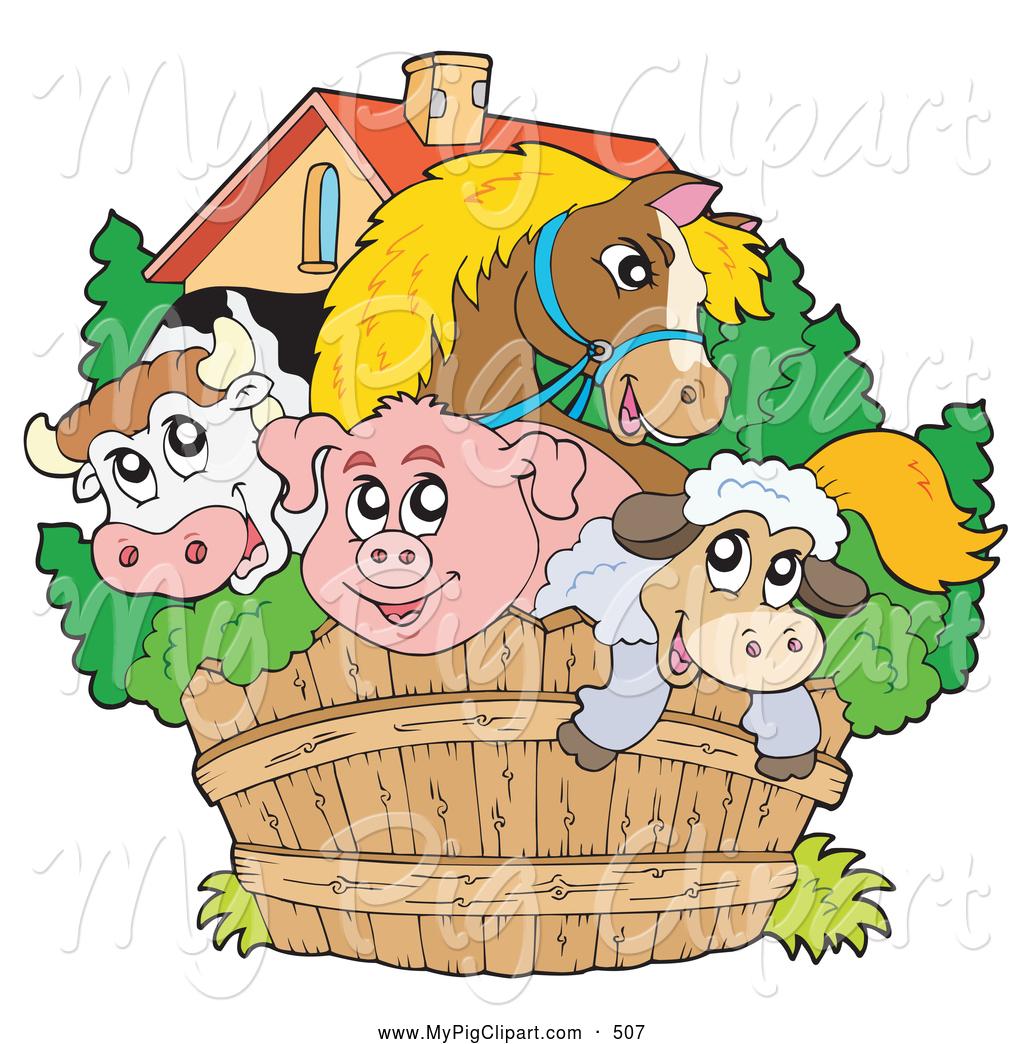 Pork clipart farm animal Farm Royalty Fence Pig Wooden