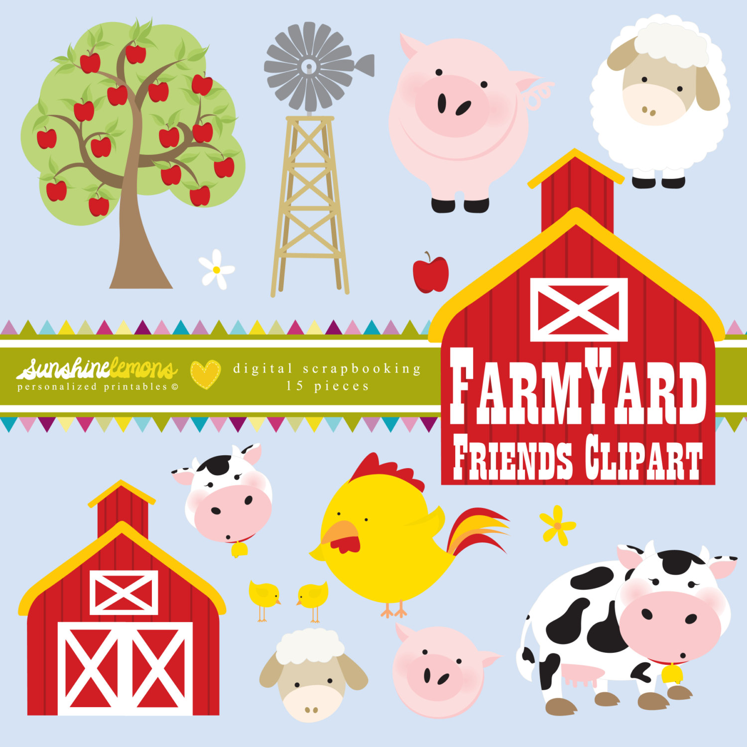 Cattle clipart barnyard animal Collection Animals Clipart Digital Vector