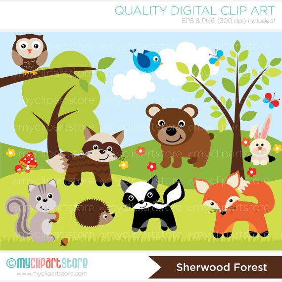 Hedgehog clipart forest animal Hedgehog Commercial  raccoon skunk