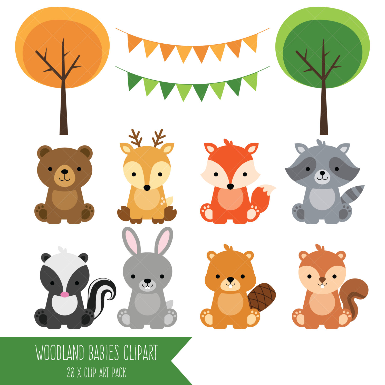 Baby Animal clipart woodland Baby / Clipart Animal Etsy