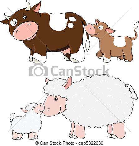 Sheep clipart mother and baby #1