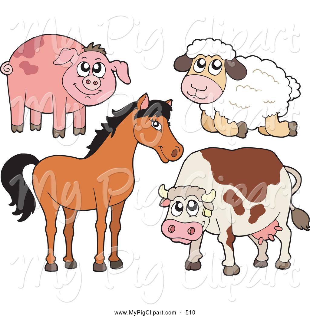 Cattle clipart barnyard animal  Sheep a and Piggy