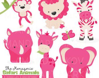Pink clipart safari Clipart Hot Vectors Animals Pink