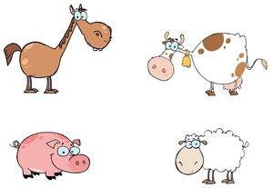 Drawn pig Drawn Cow Farm Collection Cartoon horse Clipart