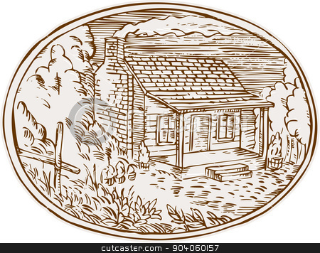 Cabin clipart farm House vector Cabin Oval Oval