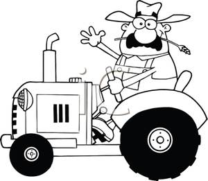 Tractor clipart black and white #5