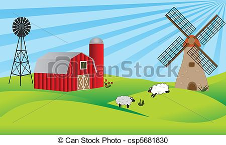 Barn clipart farm land With with barn  barn