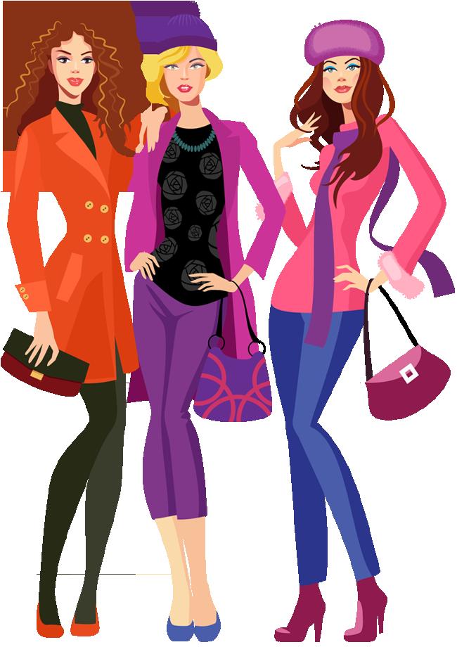 Model clipart fashion shopping Cartoon woman going shopping fashion