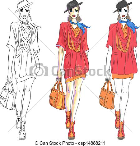 Model clipart fashion accessory Bag fashion hat beautiful top