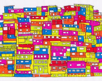 Favela clipart downtown Art 11x14