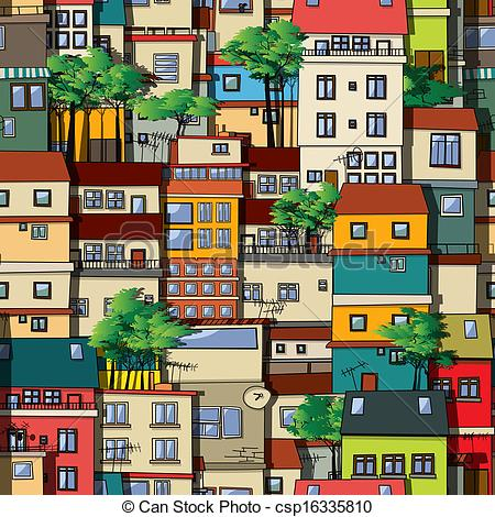 Favela clipart skyline Favela colored Bright Clip pattern