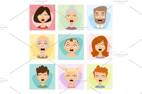 Fear clipart surprised face Shock of fear set emoticons