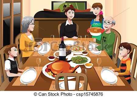 Thanksgiving clipart breakfast Illustration Thanksgiving a having dinner