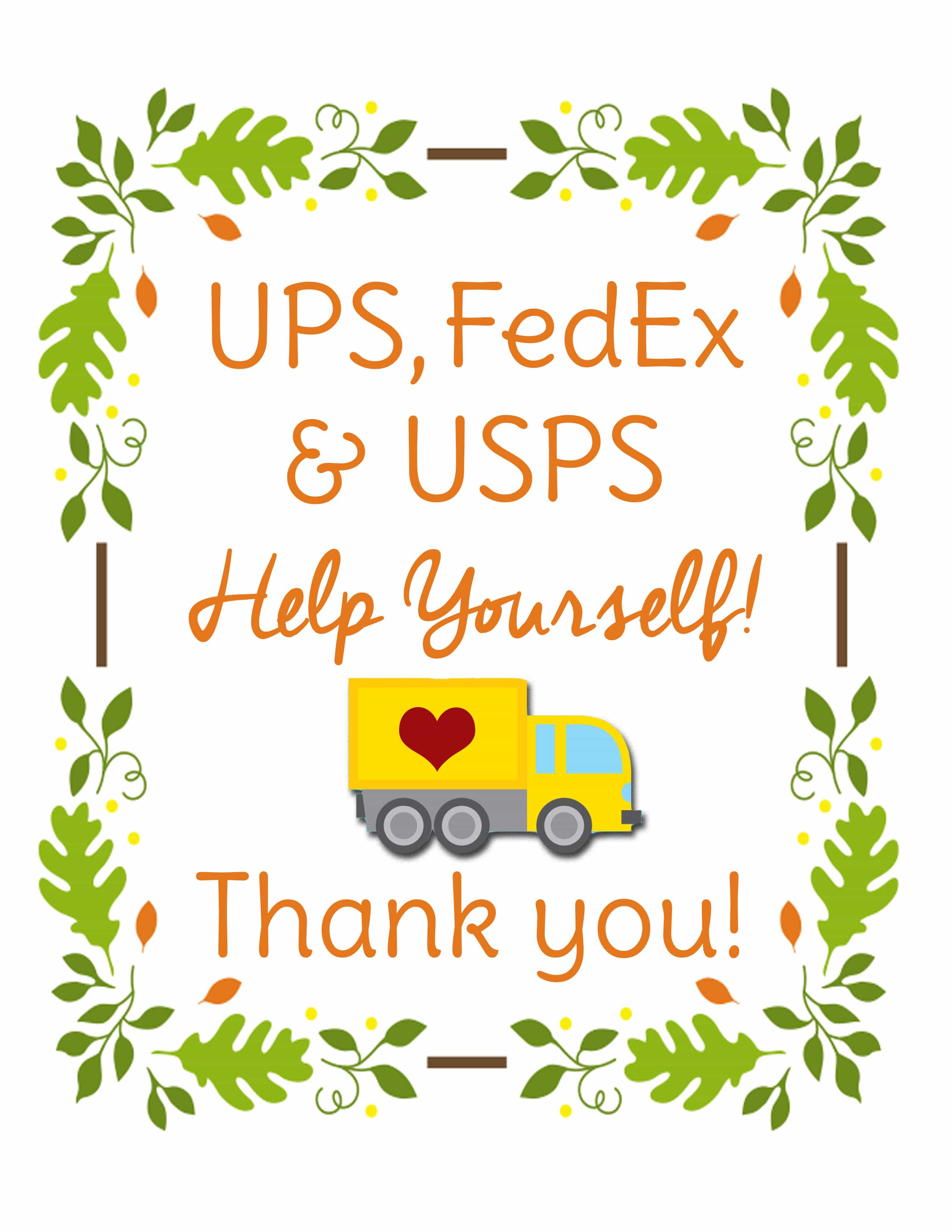 Fed Ex clipart delivery person  Delivery Three Printable Sign