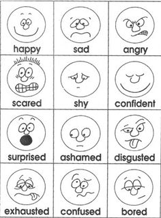 Feelings clipart black and white And Printables Activities and FREE