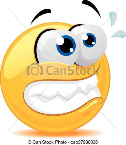 Feelings clipart emoticon Vector of Emoticon Illustration Tense