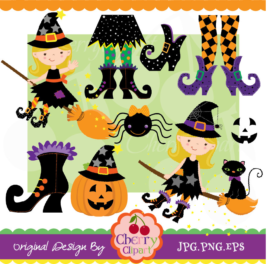 Witch clipart sock Commercial Use Cute and set