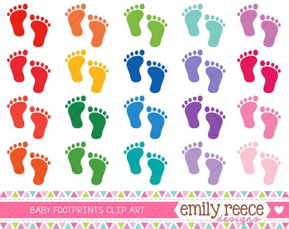 Footprint clipart cute Baby Commercial Feet Feet Colorful
