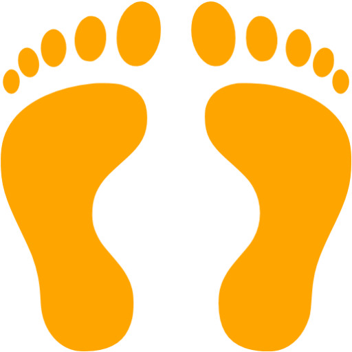 Feet clipart human footprint Orange Orange footprints human icon