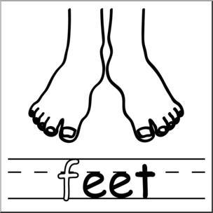 Feet clipart monochrome Abcteach abcteach Words: eet B&W