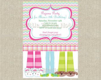 Feet clipart pajama 1 Slumber Birthday Teen Invitation