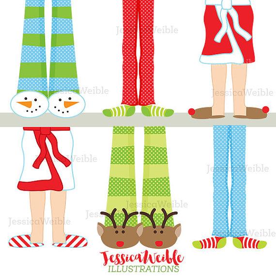 Feet clipart pajama Cute Clip  Digital Christmas