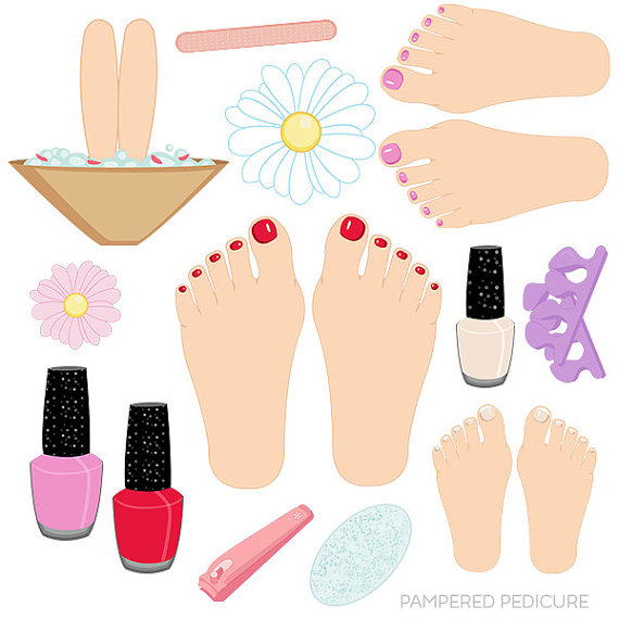 Nails clipart pedicure Studio Etsy Pedicure Pampered Clipart