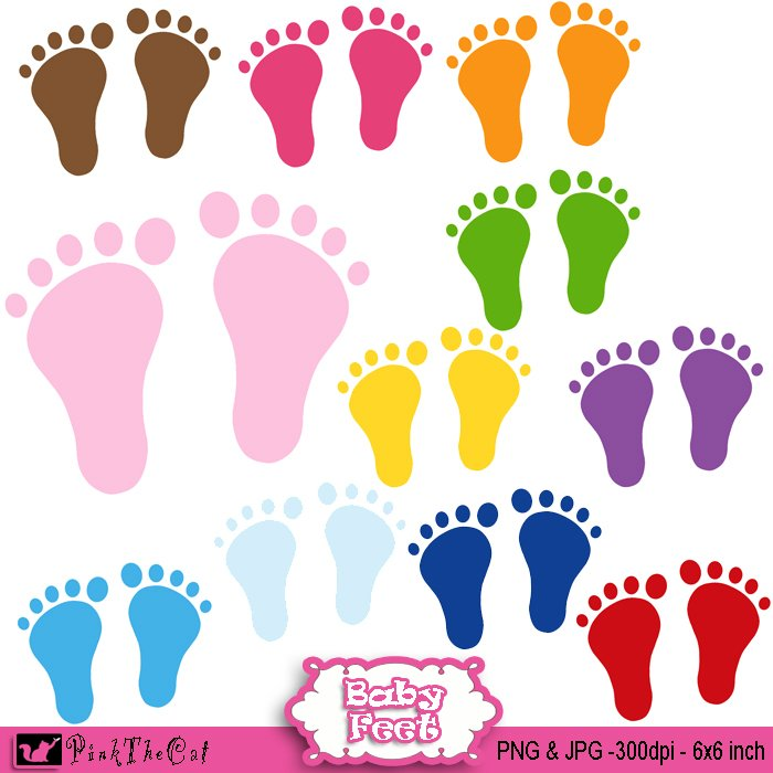 Feet clipart purple Baby clipart digital background Baby