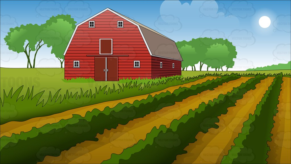 Cartoon Cartoon Field Background Barn