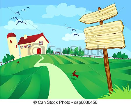 Feilds clipart empty farm Of Farm by sign surrounded