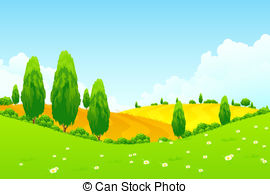 Feilds clipart green field And Trees Fields landscape with
