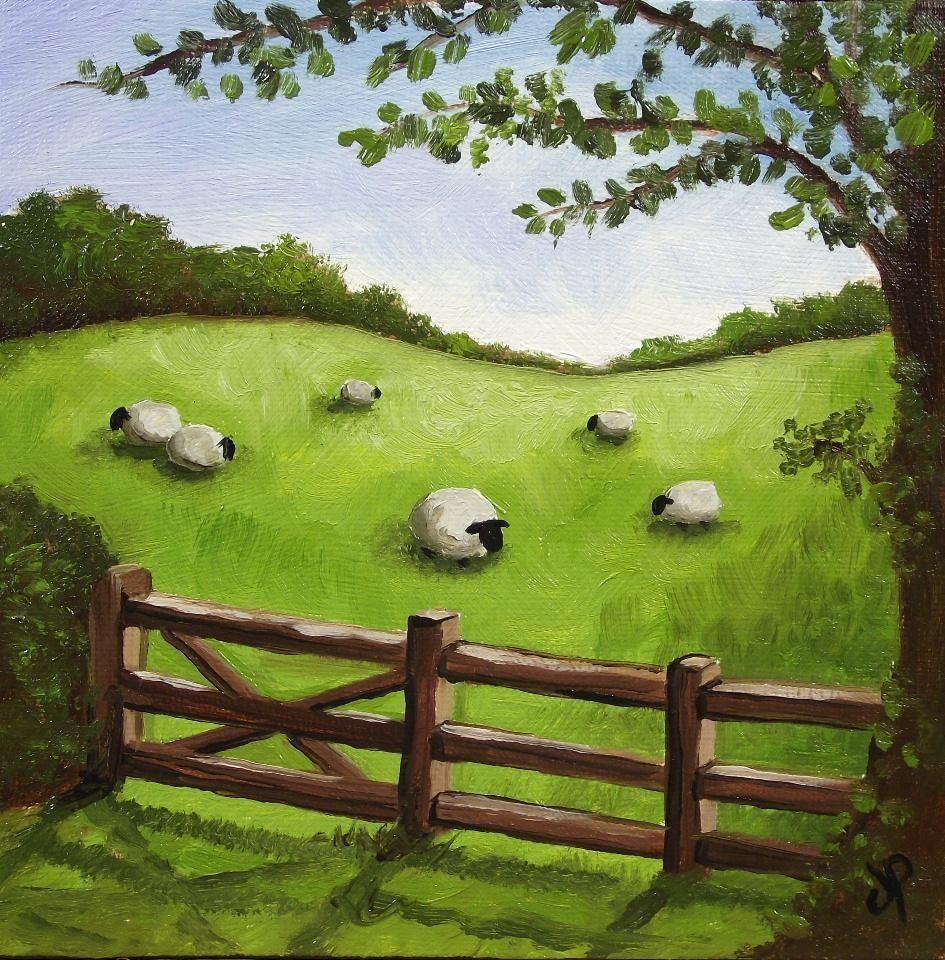Feilds clipart sheep Field Original painting Field Landscape