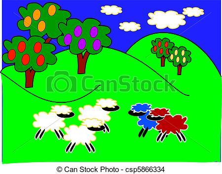 Feilds clipart sheep In hills Drawing Cartoon Cartoon