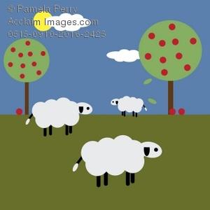 Feilds clipart sheep Cartoon Field Clip Illustration Field