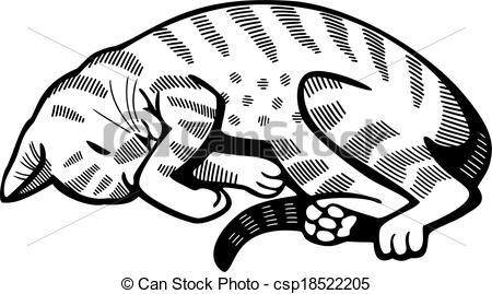 Cat clipart curled Nap up csp18522205 Cat