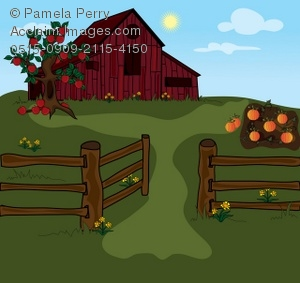Barn clipart fence Red a With Art and