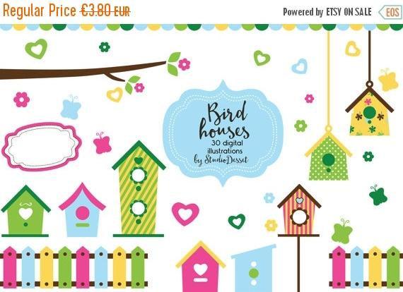Bird House clipart fence SUMMER SALE OFF House Birdhouse