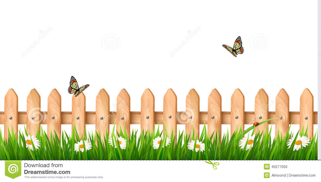 Background clipart fence Grass Art On fence Butterfly