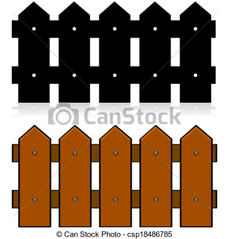 Brown clipart picket fence Picket fence a of Picket