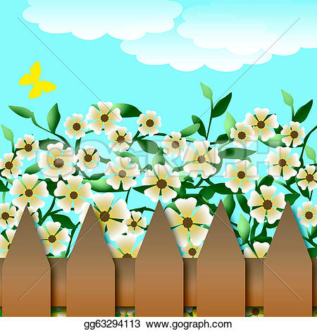 Garden clipart drawing Gg63294113 illustration fence brown gg63294113