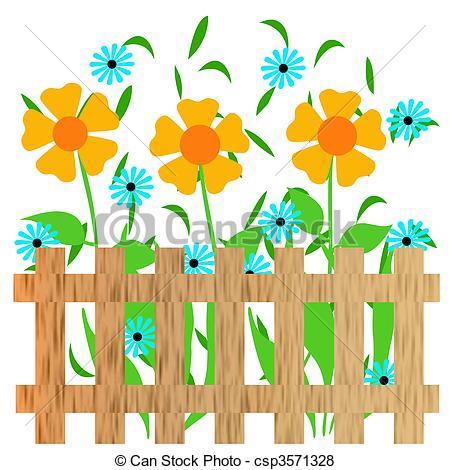 Garden clipart drawing Of illustration illustration fence fence