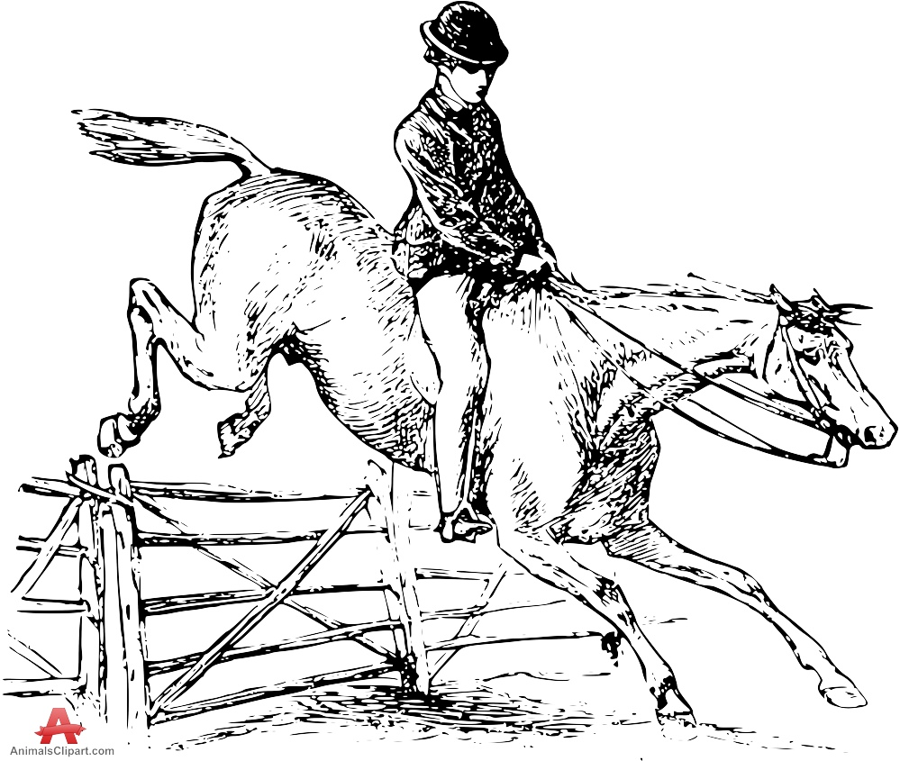 Fence clipart horse jumping #7