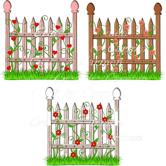 Garden clipart transparent Flower garden Fence CraftbyCarmen on