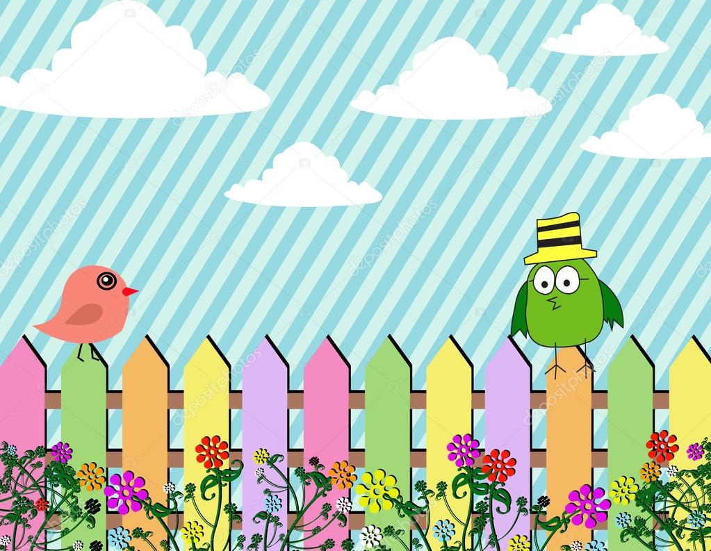 Fence clipart spring background #13