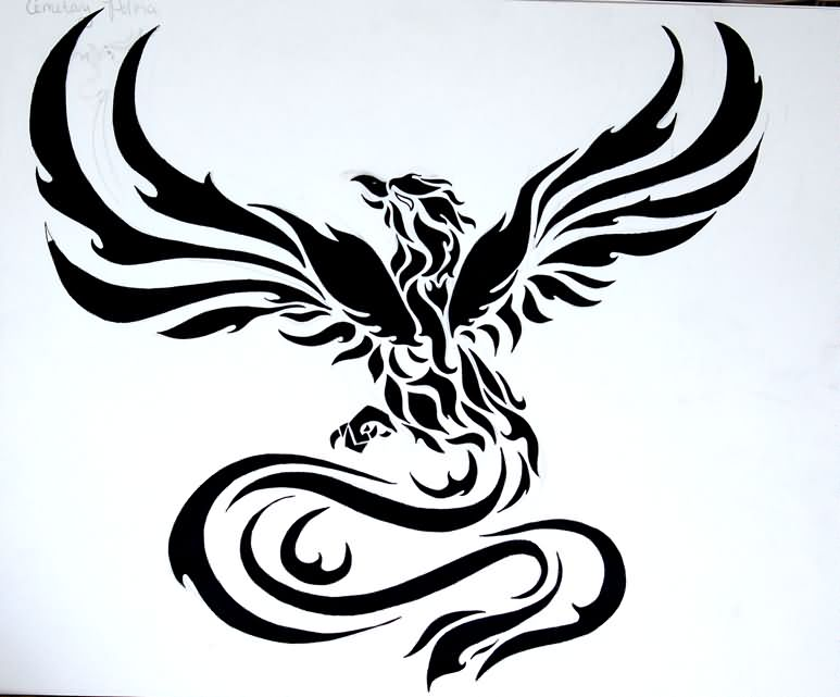 Fenix clipart stencil Cool Black Tattoo Tribal Black