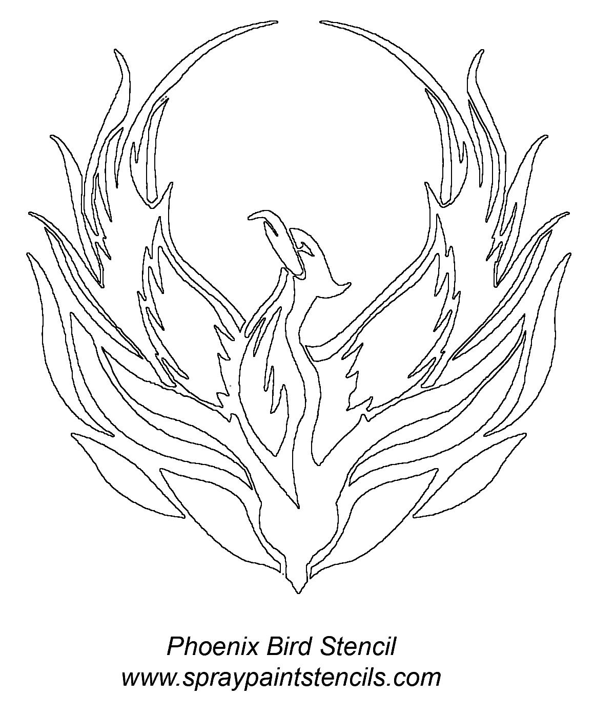 Fenix clipart stencil Phoenix bird shoulder stencil bird